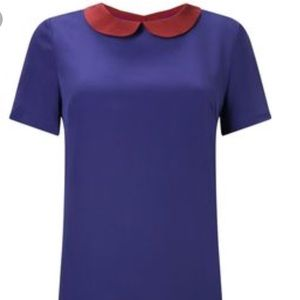 French Connection Silk top with Peter Pan collar